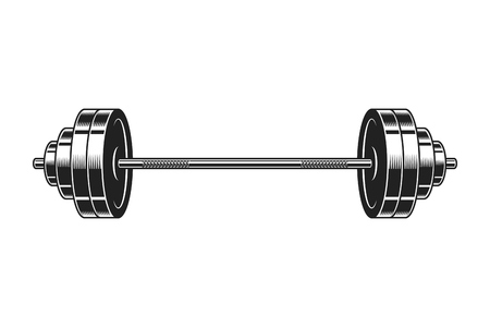 Vintage barbell for bodybuilding icon Vectores