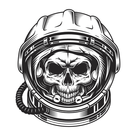 Vintage scary skull in space helmet