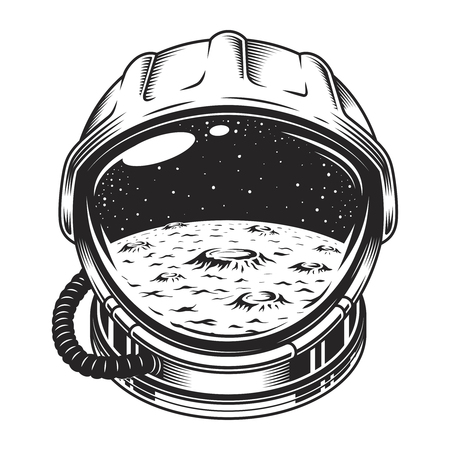 Vintage space helmet concept Illustration