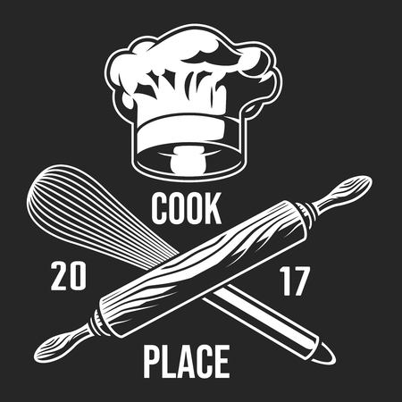 Vintage monochrome cooking label Illustration