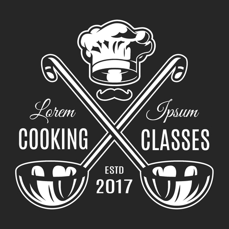 Vintage cooking classes monochrome logotype Ilustrace