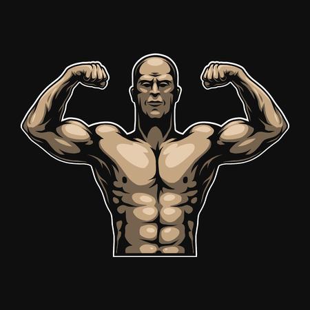 Vintage colorful muscular bodybuilder template Illustration