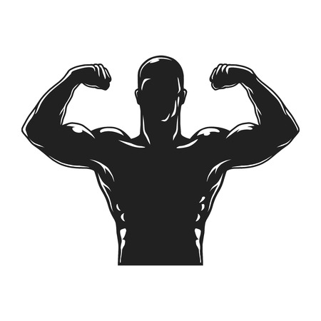 Vintage bodybuilder black silhouette template