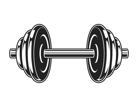 Vintage metal dumbbell icon