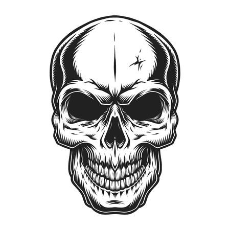 Koncepcja strasznej czaszki w stylu vintage