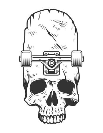 Vintage monochrome skateboarding concept