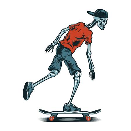 Vintage skeleton skateboarder Ilustrace