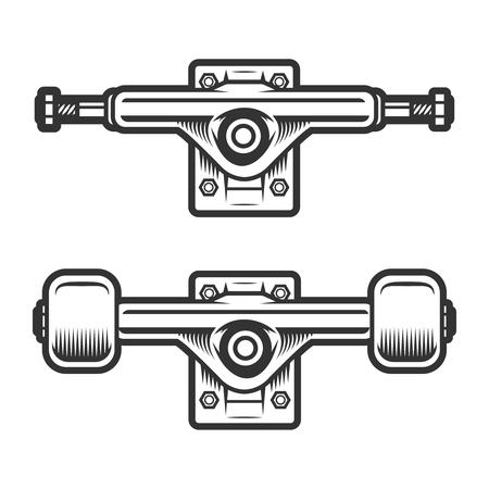 Concepto de ruedas de monopatín vintage Ilustración de vector