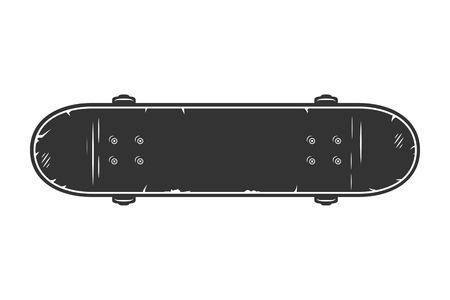 Vintage black skateboard top view concept