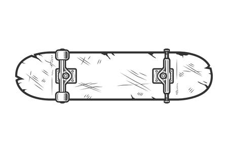 Vintage skate board bottom view template