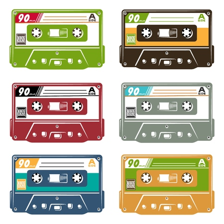 Set of tape cassette Иллюстрация