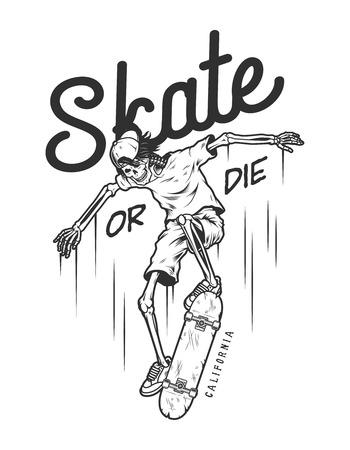 Vintage monochrome skateboarding logo Illustration