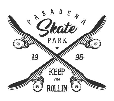 Logotipo de skate deportivo monocromo vintage