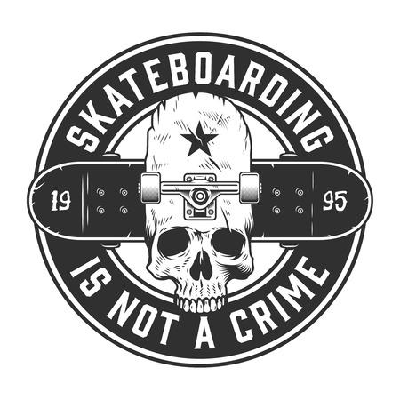 Vintage skateboarding monochrome label