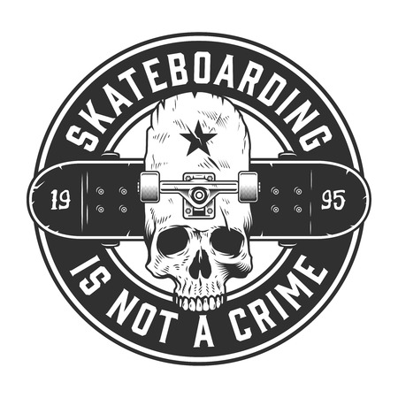Vintage skateboarding monochrome label Zdjęcie Seryjne - 102910744