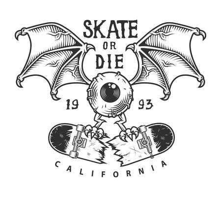 Vintage skateboarding logotype 일러스트