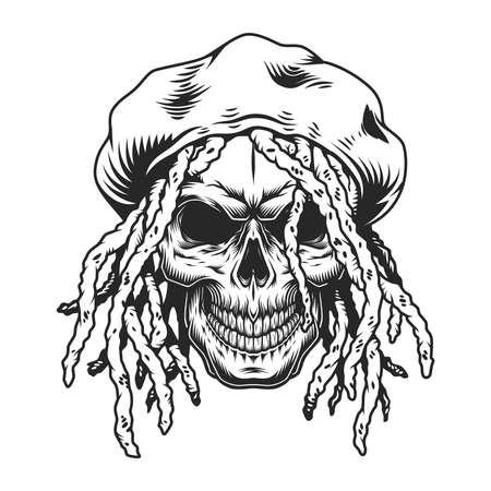 Vintage rastaman skull concept Illustration