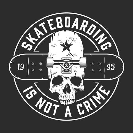Vintage skateboarding monochrome round emblem