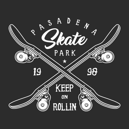 Vintage skateboarding monochrome label concept 일러스트