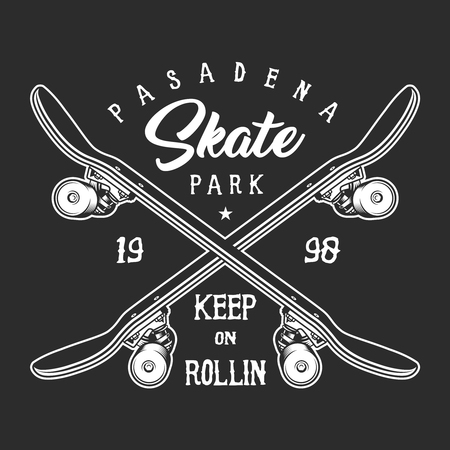Vintage skateboarding monochrome label concept Illustration