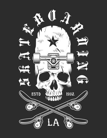 Vintage skateboarding monochrome emblem