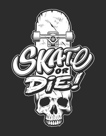 Vintage sport skateboarding emblem Stock Illustratie