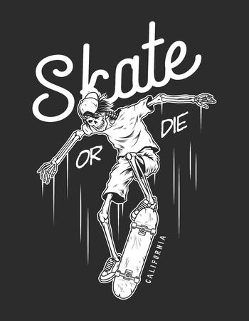Modèle d'emblème de skateboard vintage