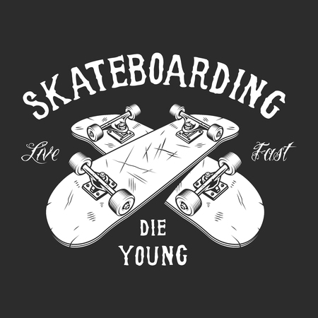 Vintage skateboarding white label