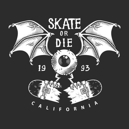 Vintage skateboarding monochrome 向量圖像