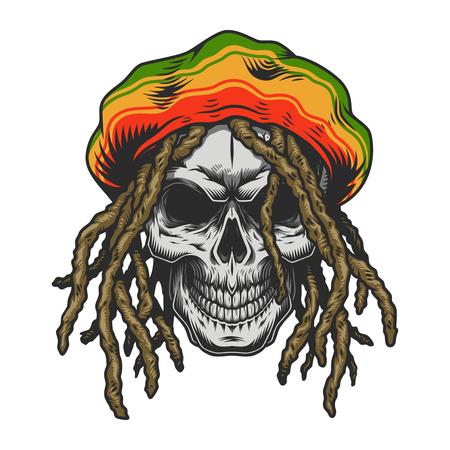 Vintage colorful rastaman skull template Illustration