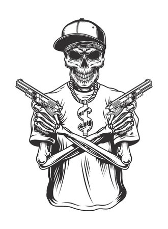 Skeleton gangster with guns