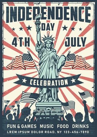 Manifesto del giorno dell'indipendenza con la statua Vettoriali