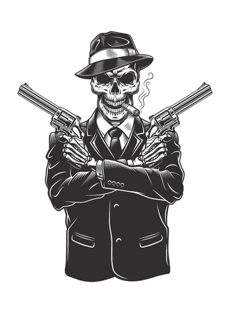 Skeleton gangster with revolvers