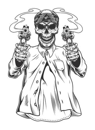Gángster esqueleto con revólveres