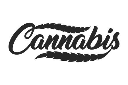 Modello di iscrizione di cannabis vintage Vettoriali
