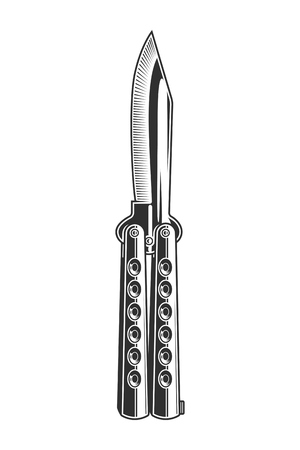 Vintage monochrome stainless combat knife concept
