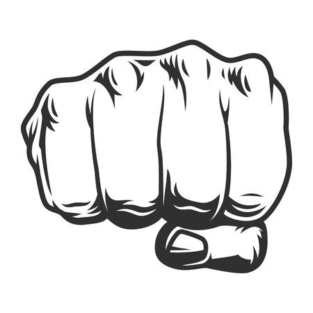 Vintage menselijke vuist punch concept Vector Illustratie