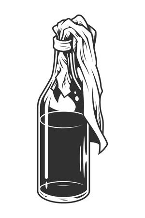 Vintage monochrome molotov cocktail concept
