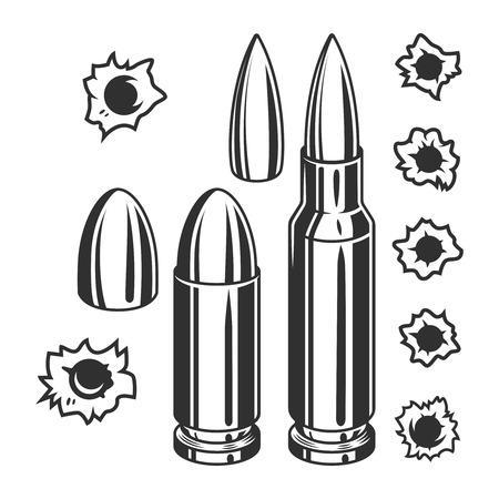 Conjunto vintage de balas y agujeros de bala.