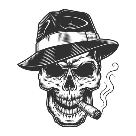 Vintage skull gangster concept