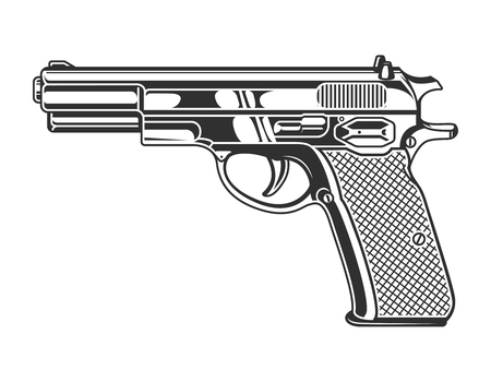 Vintage monochrome pistol concept Illustration