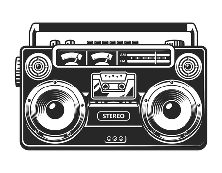 Vintage tape recorder or boombox concept Illustration