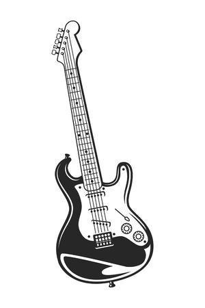 Vintage monochrome electric guitar concept Illustration