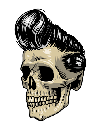 Vintage colorful rock singer skull concept