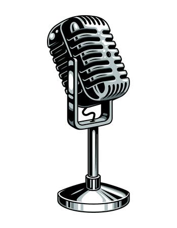 plantilla de micrófono de música colorido de la vendimia