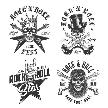 Set of rock and roll emblems