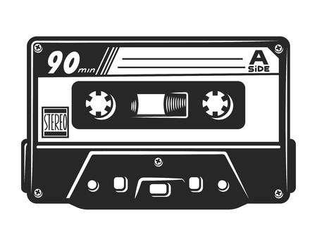 Vintage monochrome audio casette template