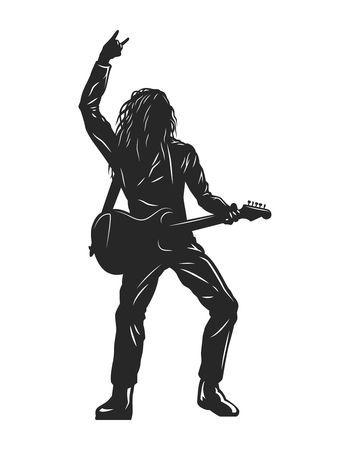 Vintage monochrome rock musician silhouette