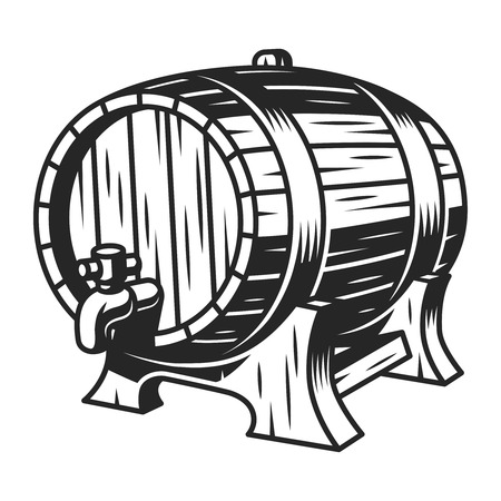Vintage beer wooden barrel template Illustration