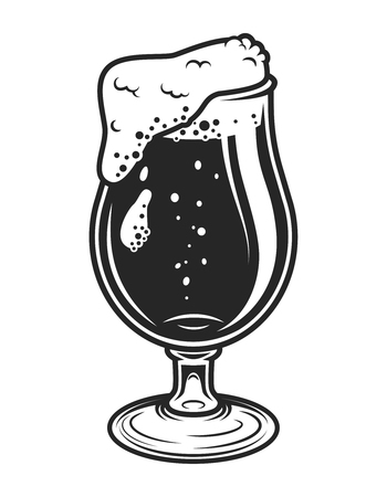 Vintage monochrome beer glass concept